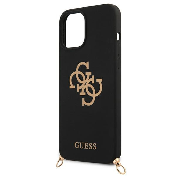 iphone 12 pro max - guess guhcp12llsc4gbk apple iphone 12 pro max black hardcase 4g gold chain collection - 6 - krytarna.cz