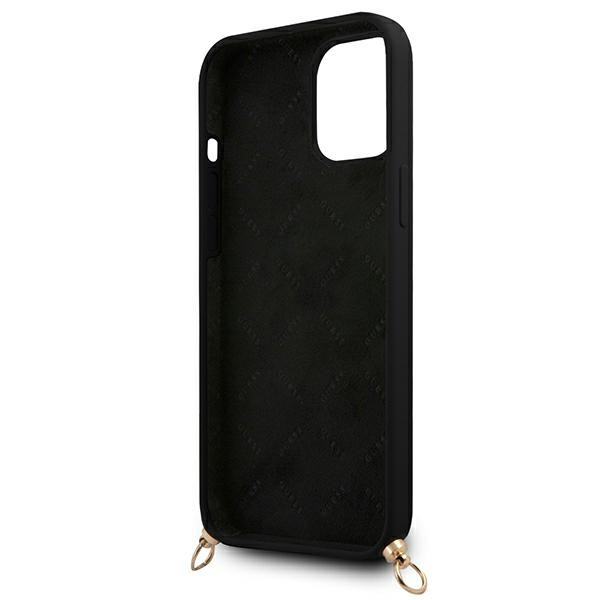 iphone 12 pro max - guess guhcp12llsc4gbk apple iphone 12 pro max black hardcase 4g gold chain collection - 7 - krytarna.cz