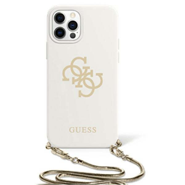 iphone 12 pro max - guess guhcp12llsc4gwh apple iphone 12 pro max white hardcase 4g gold chain collection - 1 - krytarna.cz