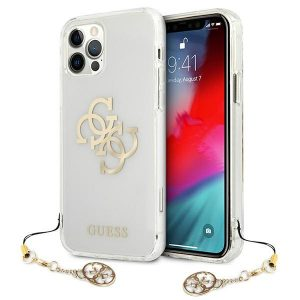 iPhone 12 Pro Max - Guess GUHCP12LKS4GGO Apple iPhone 12 Pro Max Transparent hardcase 4G Gold Charms Collection - 1 - krytarna.cz