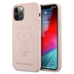 iPhone 12 Pro Max - Karl Lagerfeld KLHCP12LSILTTPI Apple iPhone 12 Pro Max Silicone Ikonik Outline pink - 1 - krytarna.cz