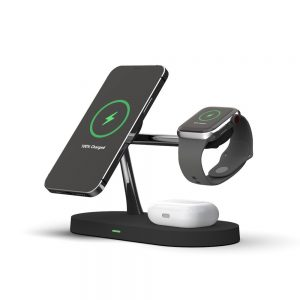 Wireless chargers - Tech-protect A12 3in1 Magnetic Magsafe Wireless Charger Black - 1 - krytarna.cz