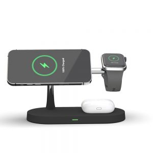 Wireless chargers - Tech-protect A12 3in1 Magnetic Magsafe Wireless Charger Black - 2 - krytarna.cz