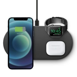 Wireless chargers - UNIQAereo Mag 3in1 Wireless Charger 15W Fast charge charcoal - 2 - krytarna.cz