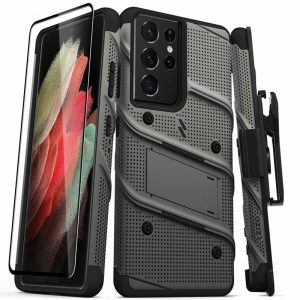 s21 ultra - zizo bolt cover samsung galaxy s21 ultra 5g armored case with 9h glass for the screen + stand & belt clip (gun metal gray) - 1 - krytarna.cz