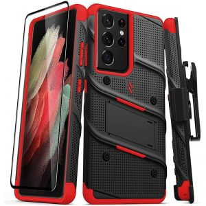 s21 ultra - zizo bolt cover - samsung galaxy s21 ultra 5g armored case with 9h glass for the screen + stand & belt clip (black & red) - 1 - krytarna.cz