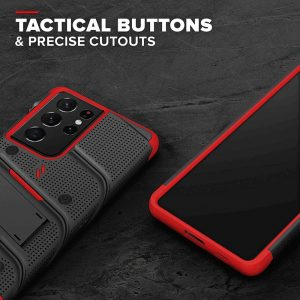 s21 ultra - zizo bolt cover - samsung galaxy s21 ultra 5g armored case with 9h glass for the screen + stand & belt clip (black & red) - 2 - krytarna.cz