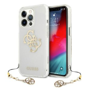 iPhone 13 Pro - Guess GUHCP13LKS4GGO Apple iPhone 13 Pro Transparent hardcase 4G Gold Charms Collection - 1 - krytarna.cz