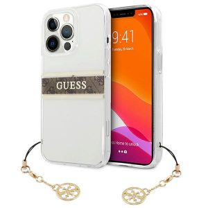 iPhone 13 Pro Max - Guess GUHCP13XKB4GBR Apple iPhone 13 Pro Max Transparent hardcase 4G Brown Strap Charm - 1 - krytarna.cz