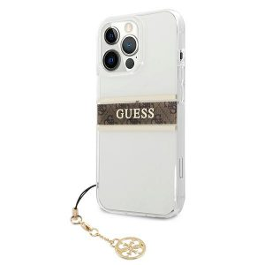 iPhone 13 Pro Max - Guess GUHCP13XKB4GBR Apple iPhone 13 Pro Max Transparent hardcase 4G Brown Strap Charm - 2 - krytarna.cz